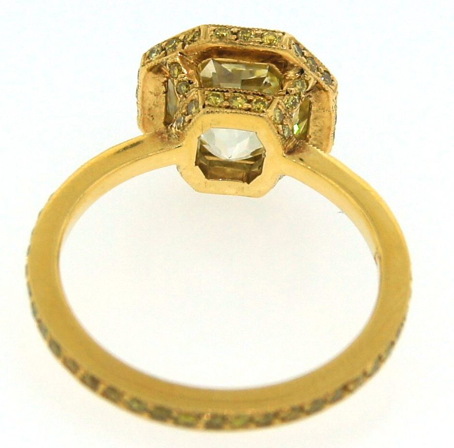 3.10 cts Light Fancy Yellow Diamond Engagement Ring For Sale 5