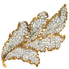 BUCCELLATI Diamond, Yellow Gold & Platinum Leaf Brooch