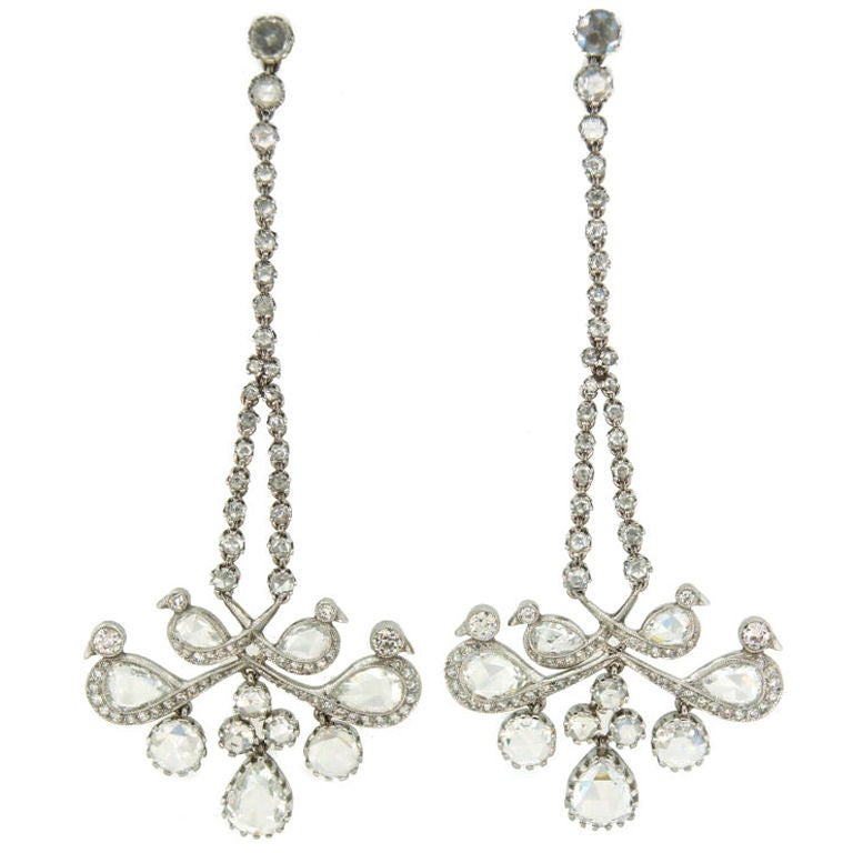 Rose Cut Diamond Platinum Chandelier Earrings