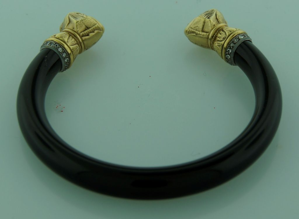 Egyptian Revival Diamond Black Onyx & Gold Sphinx Bangle Bracelet 4