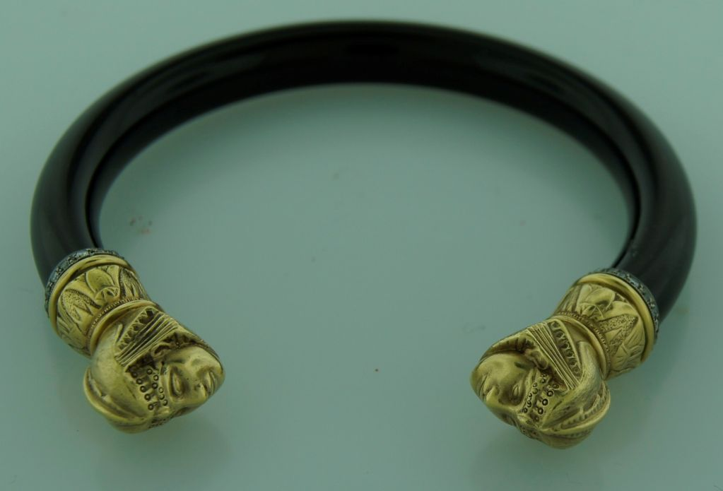 Egyptian Revival Diamond Black Onyx & Gold Sphinx Bangle Bracelet 5