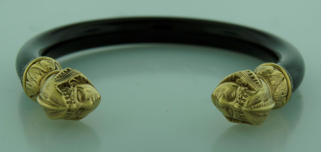 Egyptian Revival Diamond Black Onyx & Gold Sphinx Bangle Bracelet 6