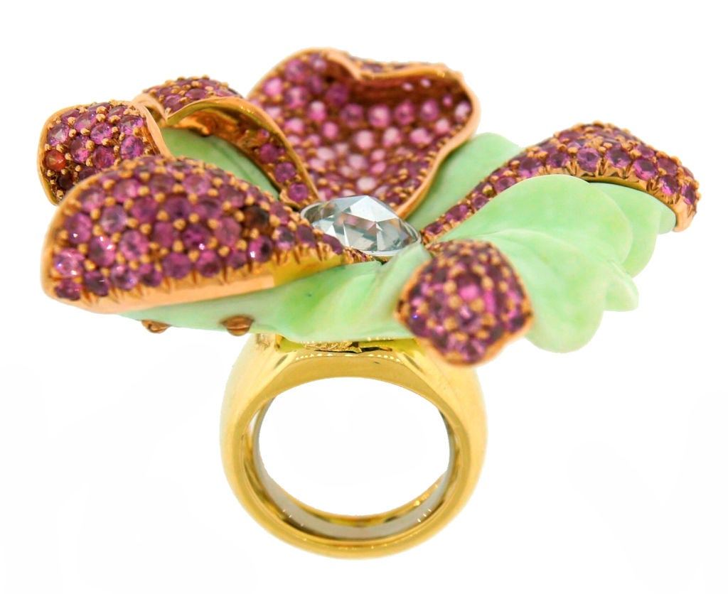 CARVIN FRENCH Pink Sapphire, Diamond, Chrisophrase & Gold Ring 5