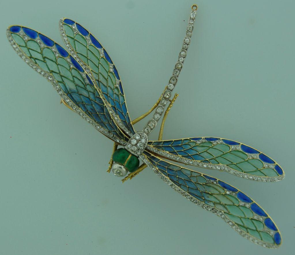 Art Nouveau Diamond, Enamel, Gold & Silver Dragonfly Brooch image 2