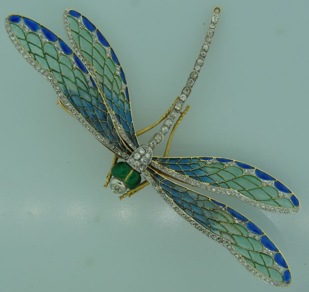 Art Nouveau Diamond, Enamel, Gold & Silver Dragonfly