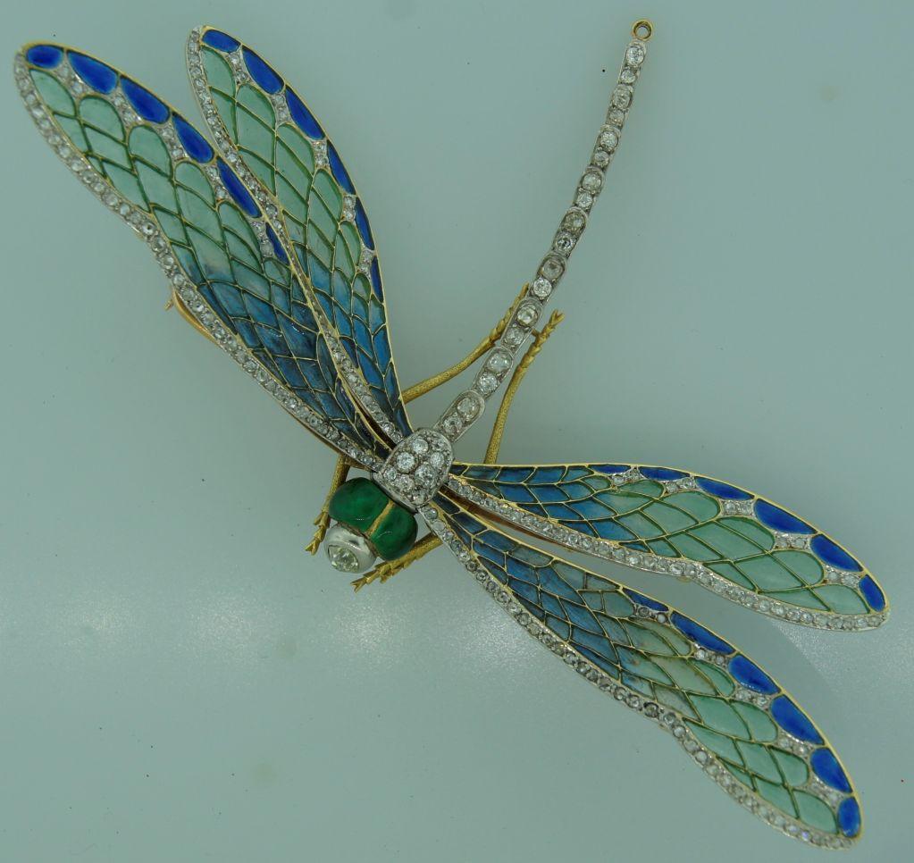 Art Nouveau Diamond, Enamel, Gold & Silver Dragonfly Brooch image 3
