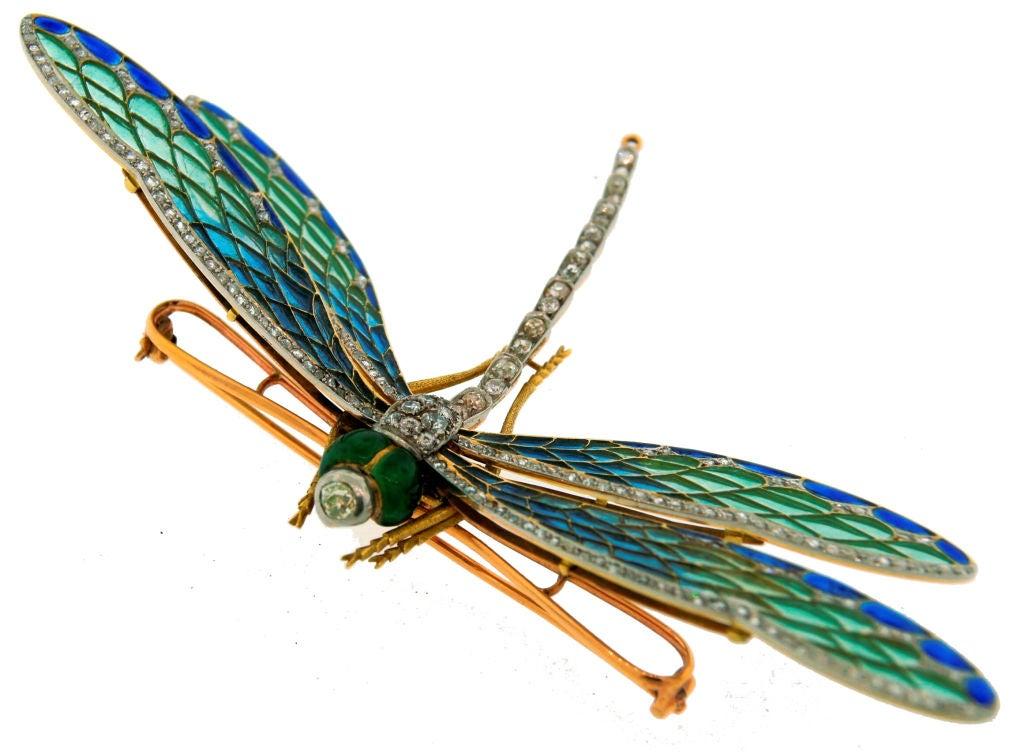 Art Nouveau Diamond, Enamel, Gold & Silver Dragonfly Brooch image 4