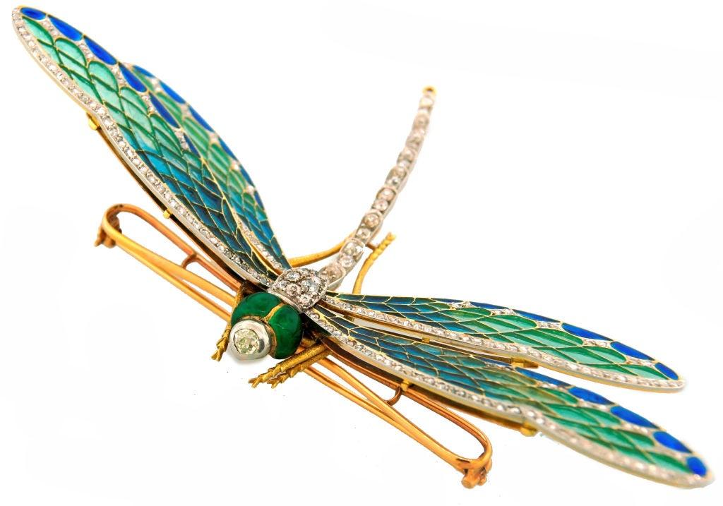Art Nouveau Diamond, Enamel, Gold & Silver Dragonfly Brooch image 5