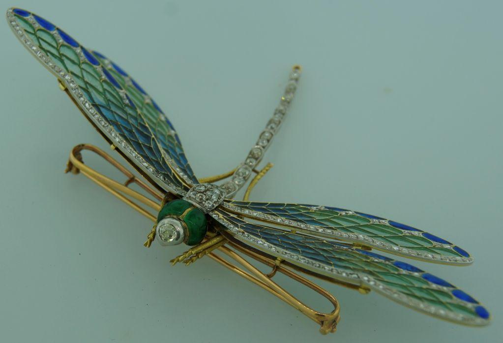 Art Nouveau Diamond, Enamel, Gold & Silver Dragonfly Brooch image 6