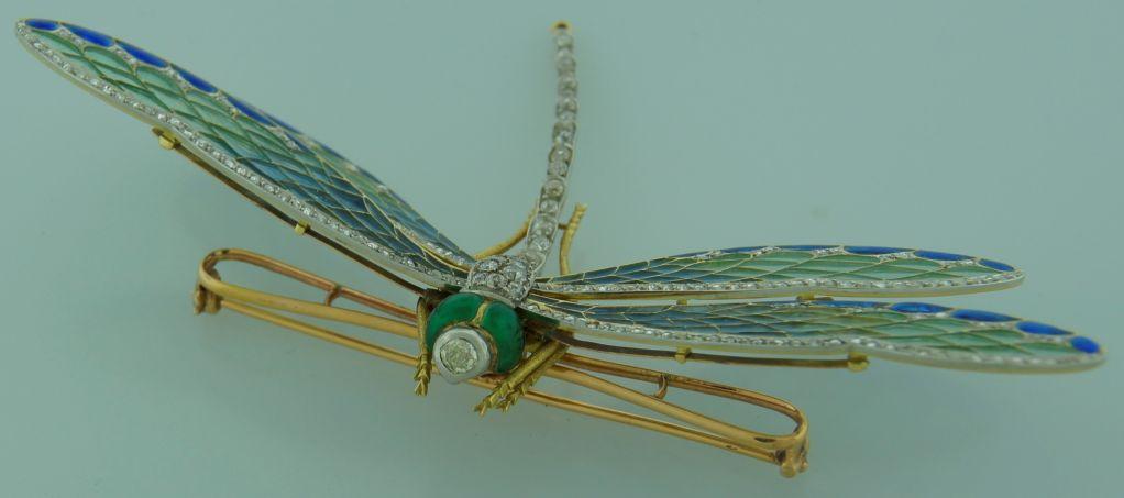 Art Nouveau Diamond, Enamel, Gold & Silver Dragonfly Brooch image 7