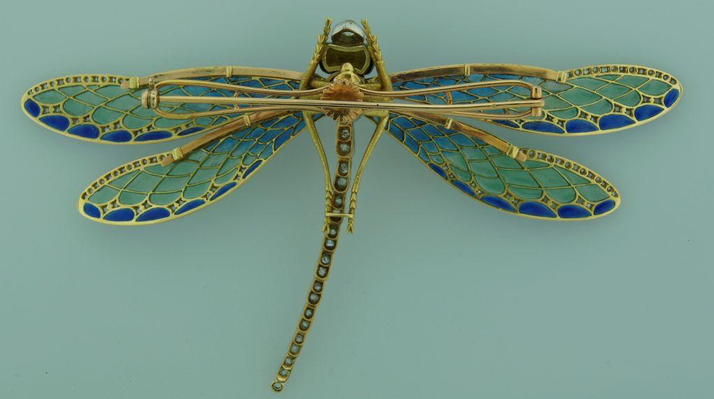Art Nouveau Diamond, Enamel, Gold & Silver Dragonfly Brooch image 8