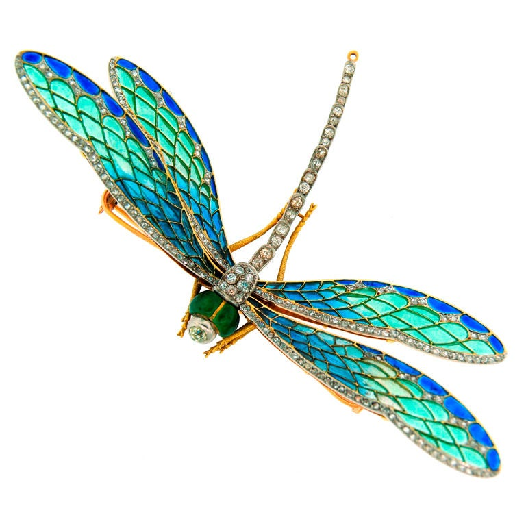 Art Nouveau Diamond Enamel Gold And Silver Dragonfly
