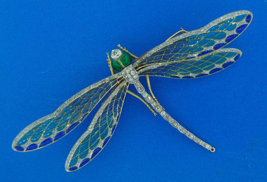 Art Nouveau Diamond, Enamel, Gold & Silver Dragonfly Brooch image 9