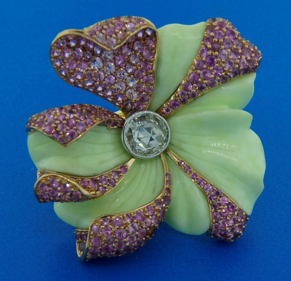 CARVIN FRENCH Pink Sapphire, Diamond, Chrisophrase & Gold Ring 8