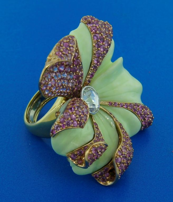 CARVIN FRENCH Pink Sapphire, Diamond, Chrisophrase & Gold Ring 9