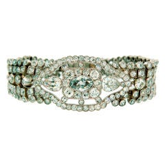 Art Deco Diamond Bracelet with Light Fancy Blue Marquise Diamond