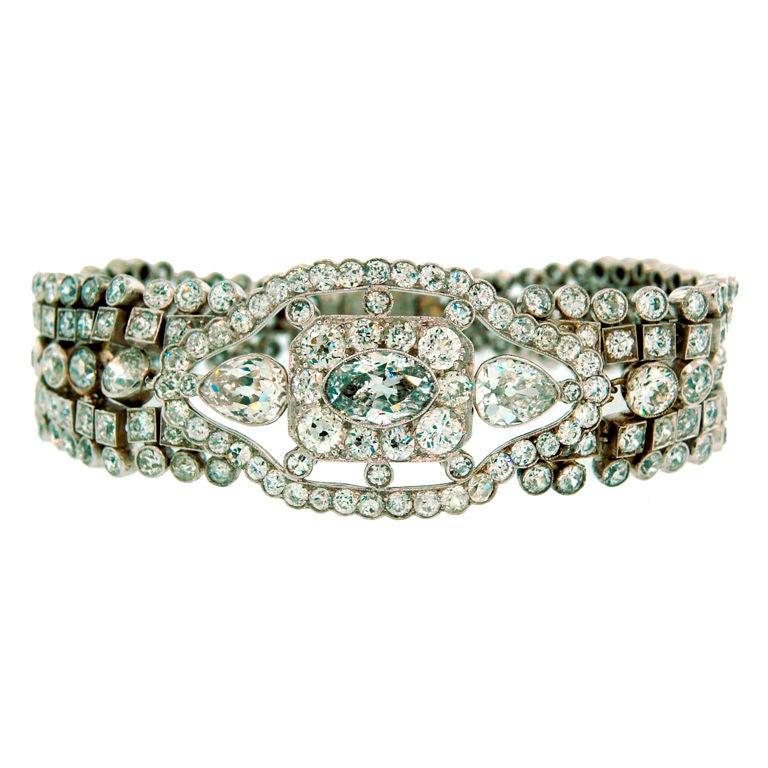 Art Deco Diamond Bracelet with Light Fancy Blue Marquise Diamond