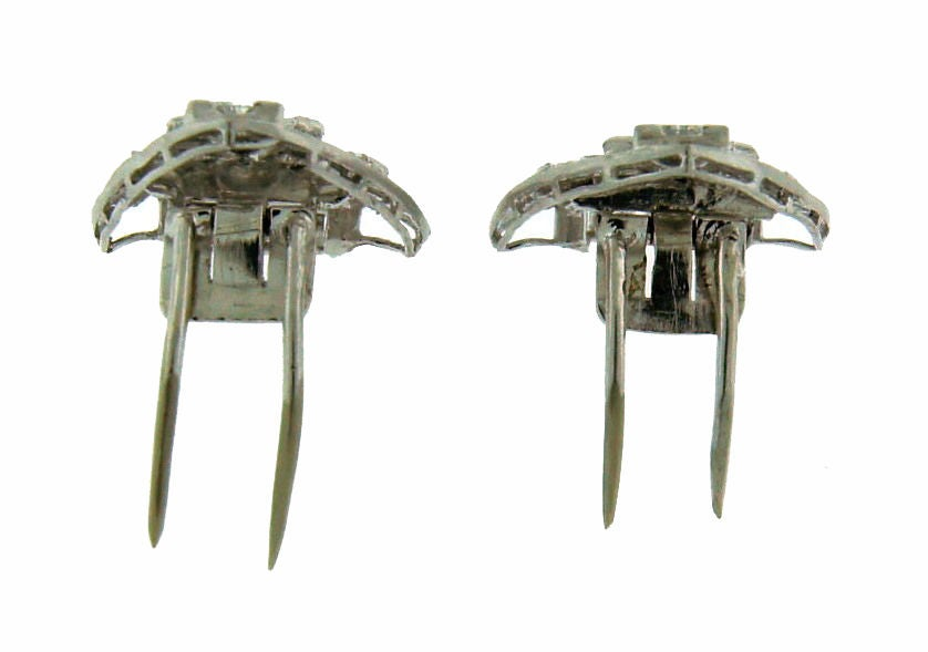 Art Deco Diamond Platinum Brooch Pin Double Clips For Sale 6