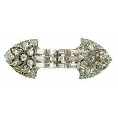 Art Deco Diamond Platinum Brooch Pin Double Clips