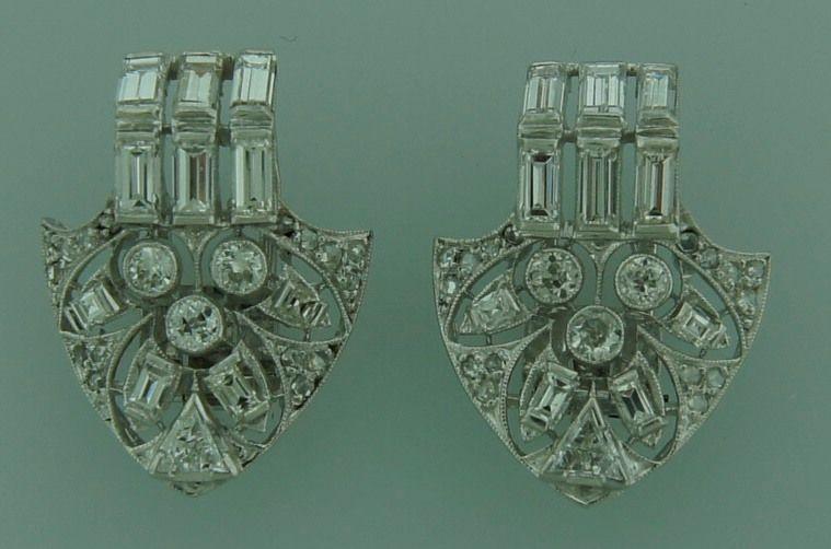 Art Deco Diamond Platinum Brooch Pin Double Clips For Sale 2
