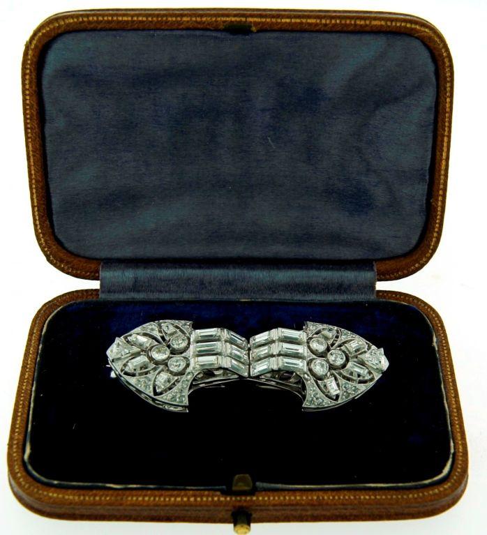 Art Deco Diamond Platinum Brooch Pin Double Clips For Sale 3