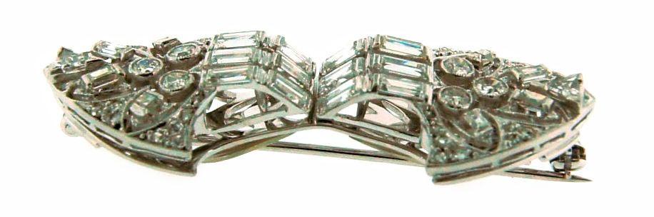 Art Deco Diamond Platinum Brooch Pin Double Clips For Sale 4