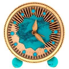 ANGELUS Turquoise Yellow Gold Alarm Clock