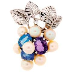SEAMAN SCHEPPS Pearl Sapphire Diamond White Gold Floral Brooch