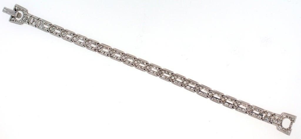 Art Deco CARTIER Diamond Platinum Bracelet For Sale 1
