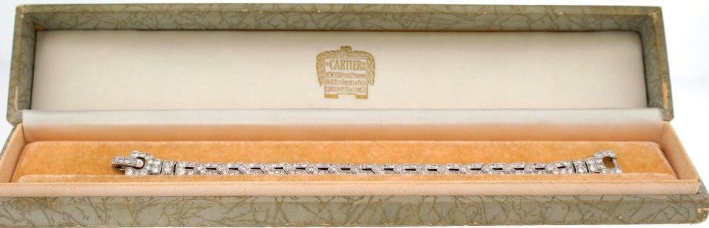Art Deco CARTIER Diamond Platinum Bracelet For Sale 2