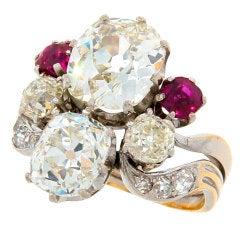 Antique Cushion Cut Diamond, Ruby & Gold Ring