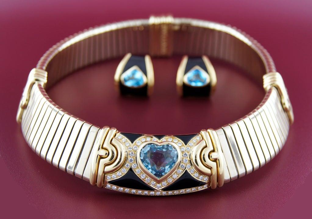 BULGARI Aquamarine Onyx Diamond Gold Tubogas Necklace image 10