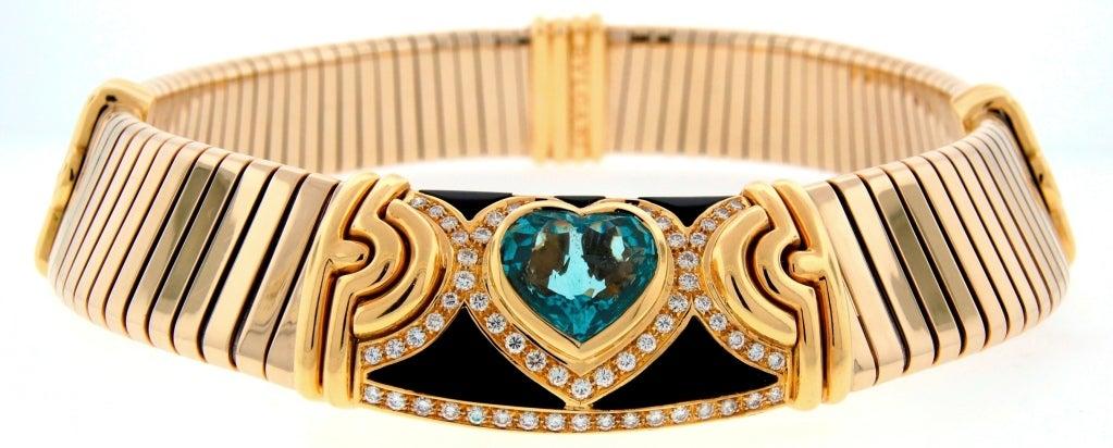 BULGARI Aquamarine Onyx Diamond Gold Tubogas Necklace image 2