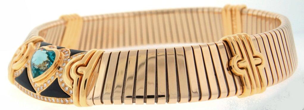 BULGARI Aquamarine Onyx Diamond Gold Tubogas Necklace image 3