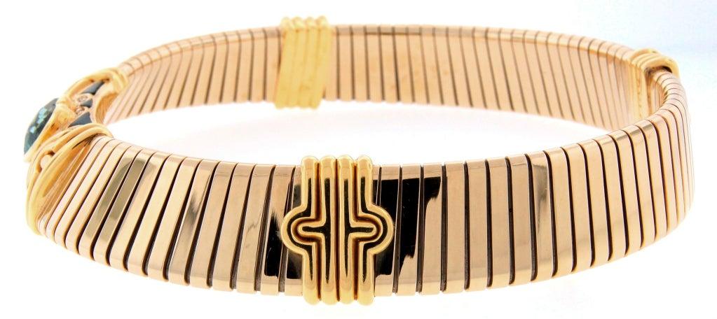 BULGARI Aquamarine Onyx Diamond Gold Tubogas Necklace image 4