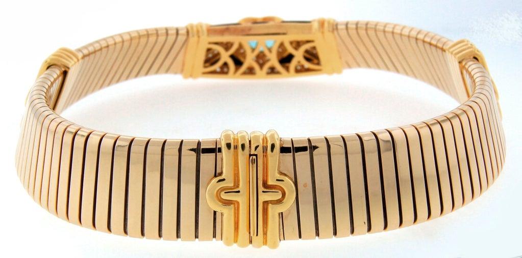 BULGARI Aquamarine Onyx Diamond Gold Tubogas Necklace image 5