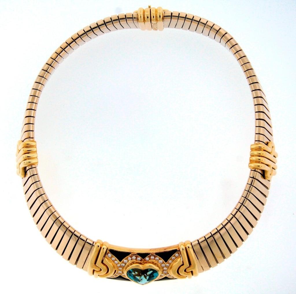 BULGARI Aquamarine Onyx Diamond Gold Tubogas Necklace image 6
