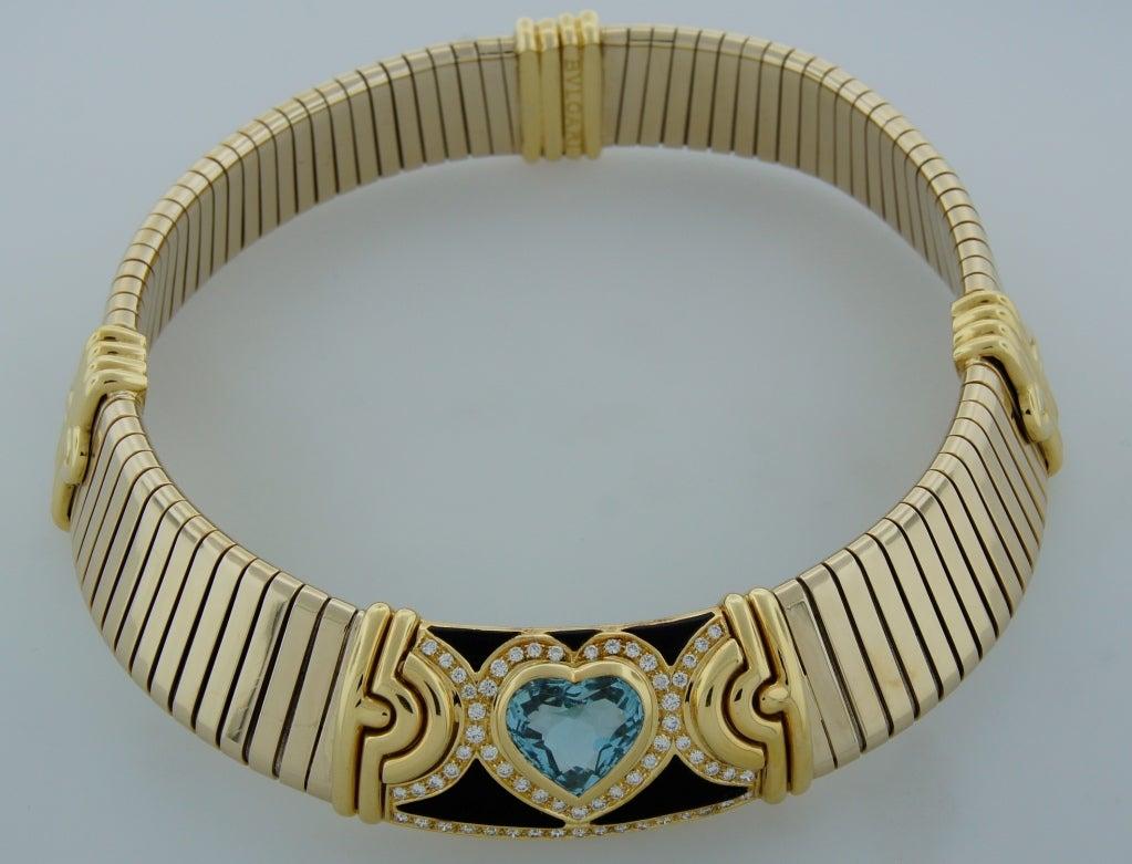 BULGARI Aquamarine Onyx Diamond Gold Tubogas Necklace image 7