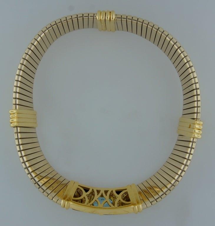 BULGARI Aquamarine Onyx Diamond Gold Tubogas Necklace image 8