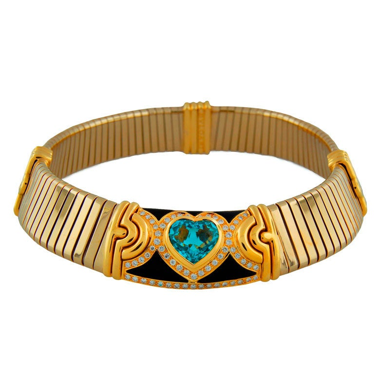 BULGARI Aquamarine Onyx Diamond Gold Tubogas Necklace
