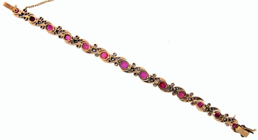 Victorian Ruby Diamond Silver Gold Bracelet 10