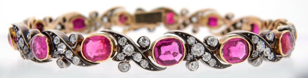 Victorian Ruby Diamond Silver Gold Bracelet 2
