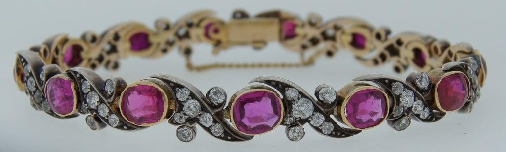 Victorian Ruby Diamond Silver Gold Bracelet 3