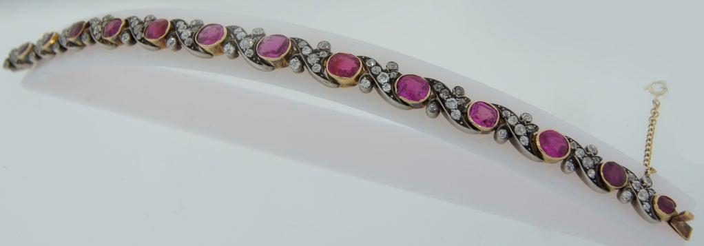 Victorian Ruby Diamond Silver Gold Bracelet 4