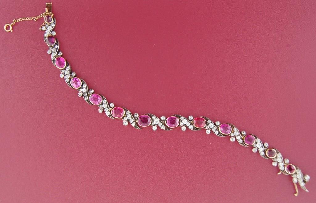 Victorian Ruby Diamond Silver Gold Bracelet 5