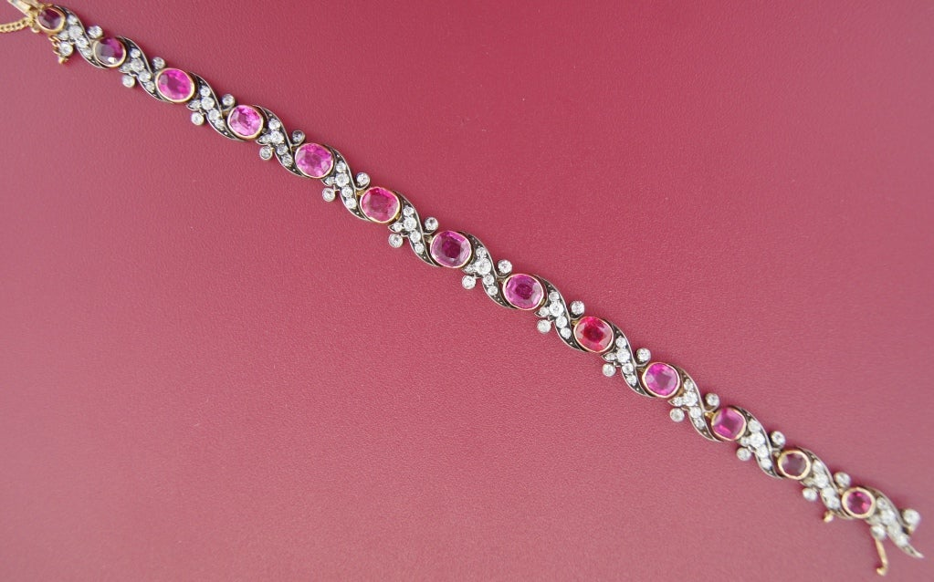 Victorian Ruby Diamond Silver Gold Bracelet 6