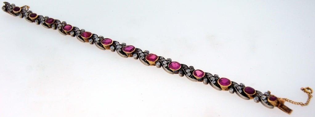 Victorian Ruby Diamond Silver Gold Bracelet 7