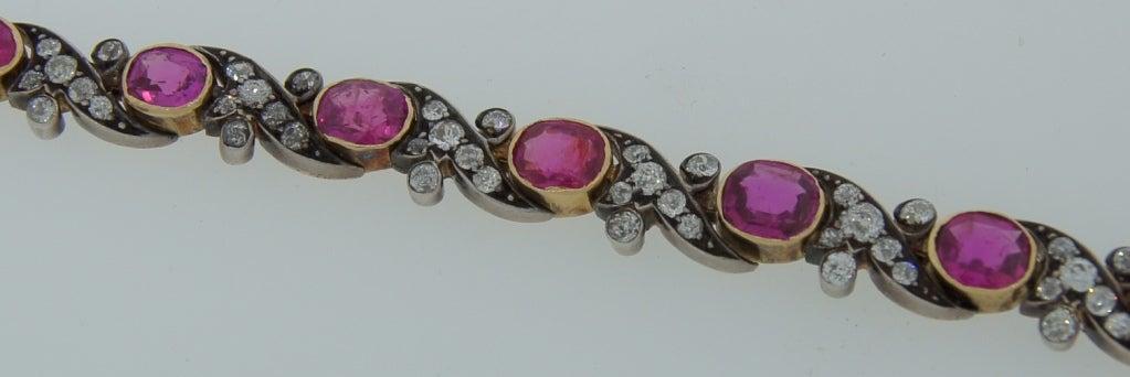 Victorian Ruby Diamond Silver Gold Bracelet 8