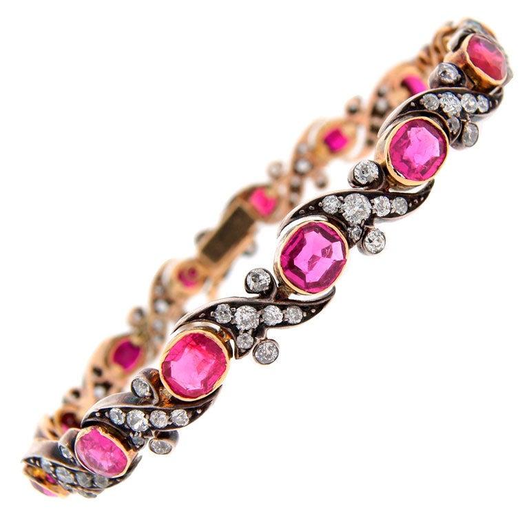 Victorian Ruby Diamond Silver Gold Bracelet 1