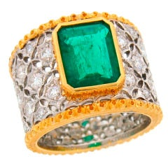 Mario Buccellati Emerald Diamond Gold Band Ring, 1960s